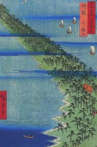 """Die """"Himmelsbrücke"""" auf einem Holzschnitt von Hiroshige (c) gemeinfrei"""