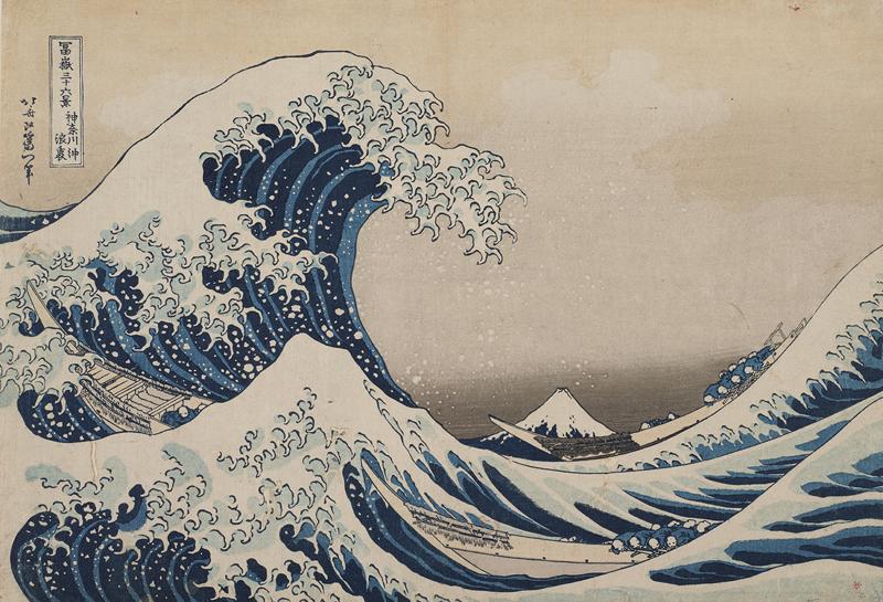 Katsushika Hokusai, Die große Welle vor der Küste bei Kanagawa, 1830–1831, aus 36 Ansichten des Berges Fuji, Privatsammlung, © Foto: Museum Folkwang