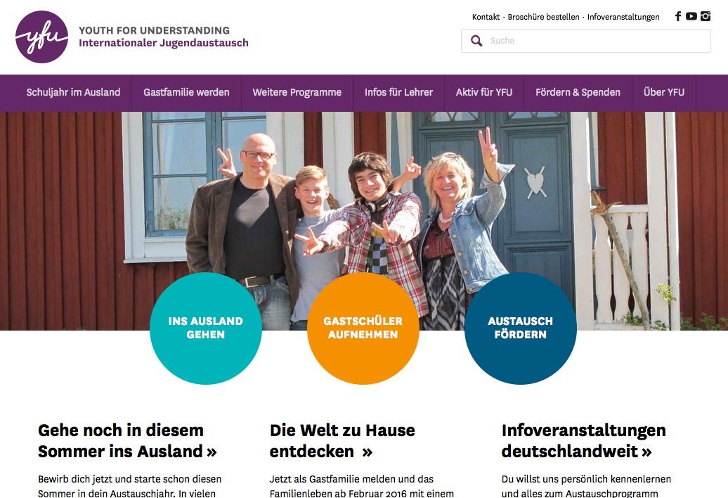 Webseite von YFU
